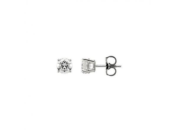 Cubic Zirconia Earrings - 14K White 6mm Cubic Zirconia Earrings
