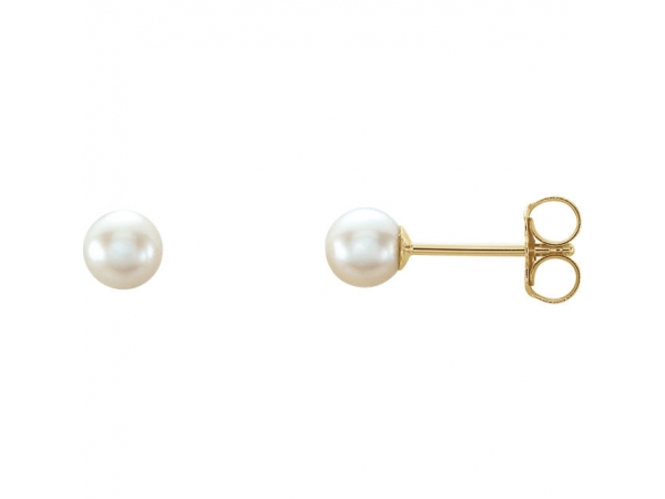 Akoya Cultured Pearl Stud Earrings - 14K Yellow 4 mm White Akoya Cultured Pearl Earrings