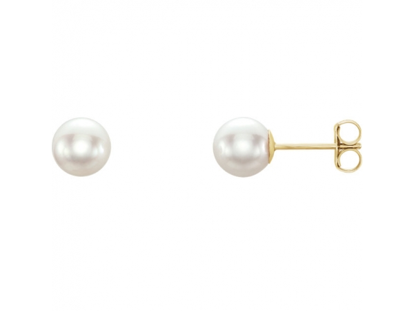 Akoya Cultured Pearl Stud Earrings - 14K Yellow 6 mm White Akoya Cultured Pearl Earrings