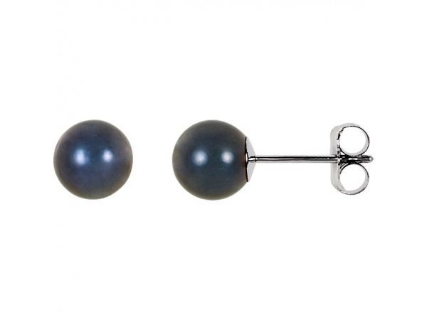 Akoya Cultured Pearl Stud Earrings - 14K White 6mm Black Akoya Cultured Pearl Earrings