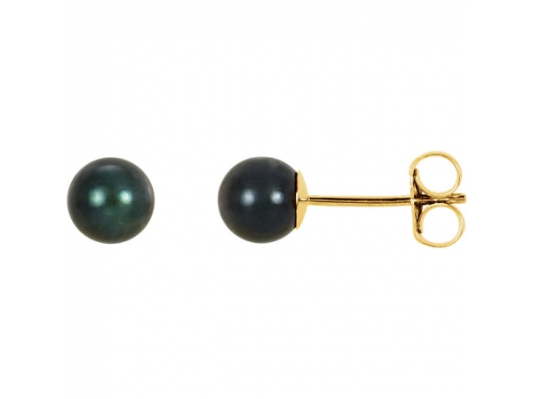 Akoya Cultured Pearl Stud Earrings - 14K Yellow 5mm Black Akoya Cultured Pearl Earrings