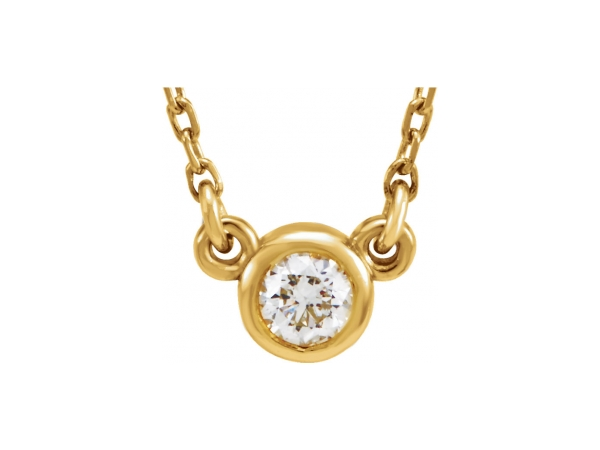 Genuine Diamond Necklace - Polished 14K Yellow Gold Genuine Diamond Necklace