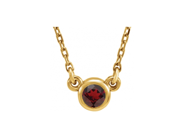 Genuine Garnet Necklace - Polished 14K Yellow Gold Genuine Garnet Necklace