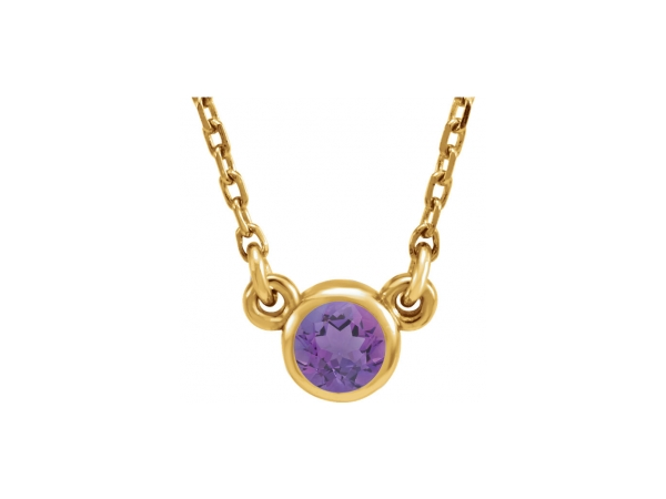 Genuine Amethyst Necklace - Polished 14K Yellow Gold Genuine Amethyst Necklace