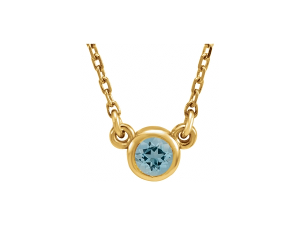 Gemstone Pendants - Genuine Aquamarine Necklace