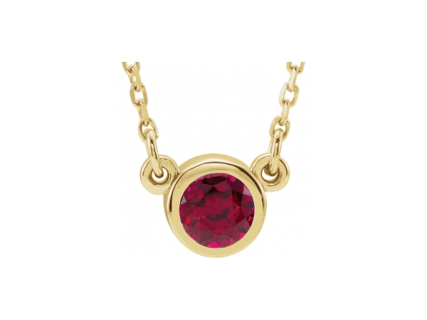 Genuine Ruby Necklace - Polished 14K Yellow Gold Genuine Ruby Necklace