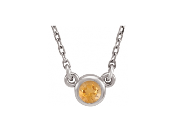 Gemstone Pendants - Genuine Citrine Necklace