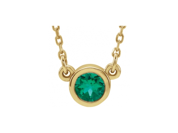 Gemstone Necklaces - Created Emerald Necklace