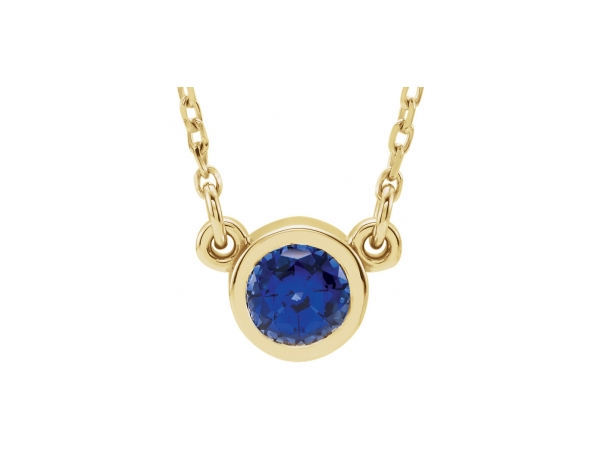 Gemstone Necklaces - Created Sapphire Necklace