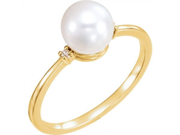 Accented Ring for Pearl - 14K Yellow Freshwater Cultured Pearl & .025 CTW Diamond Ring