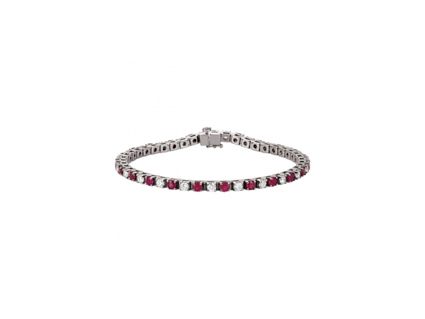 Genuine Ruby Bracelet - Polished Platinum Genuine Ruby Bracelet