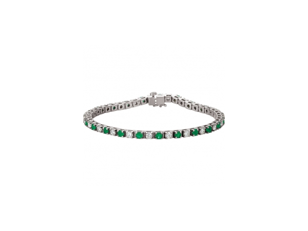 Genuine Emerald Bracelet - Polished 14K White Gold Genuine Emerald Bracelet