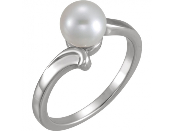 Solitaire Ring for Pearl - 14K White 7mm Solitaire Ring for Pearl
