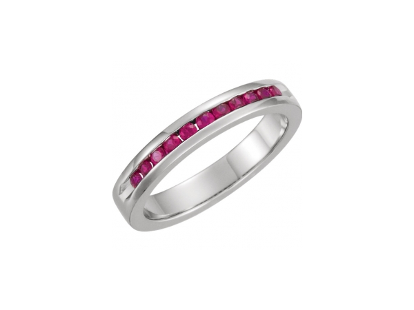 Platinum Anniversary Band - Platinum Ruby Engravable Anniversary Band