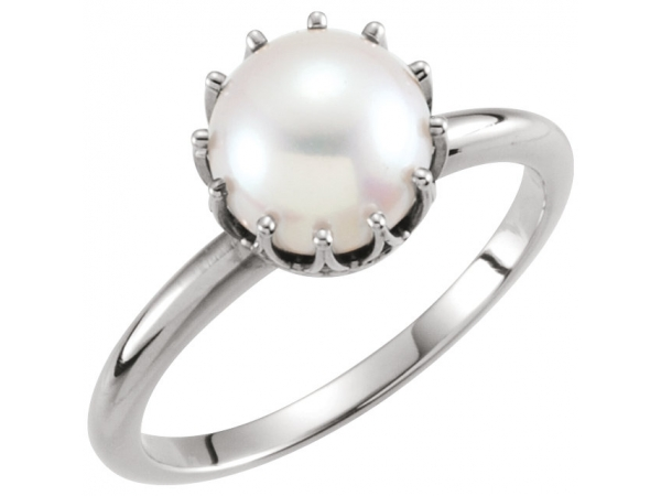 Crown Pearl Ring - 14K White Freshwater Cultured Pearl Ring