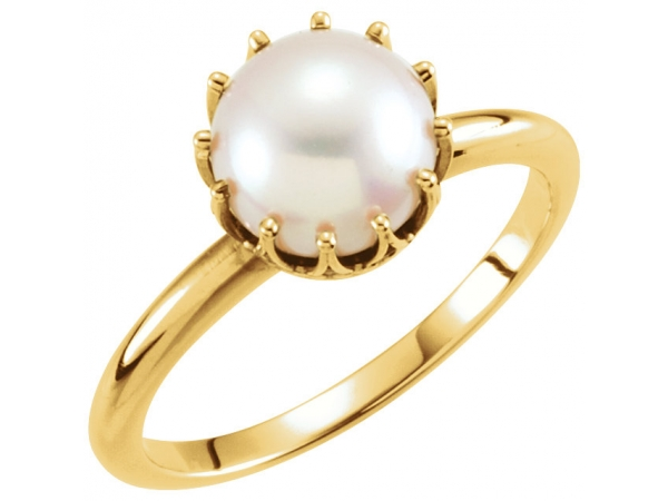 Crown Pearl Ring - 14K Yellow Freshwater Cultured Pearl Ring