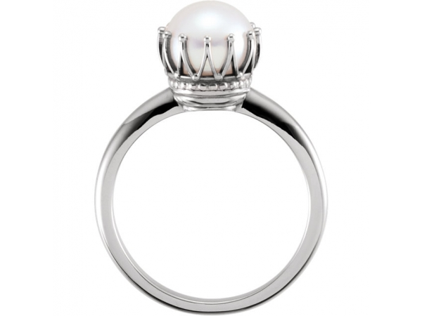 Gemstone Rings - Crown Pearl Ring - image #2