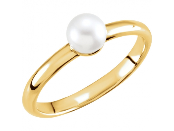 Solitaire Pearl Ring - 14K Yellow 5.5-6mm Freshwater Cultured Pearl Ring