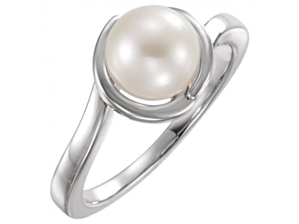Gemstone Rings - Bypass Pearl Ring