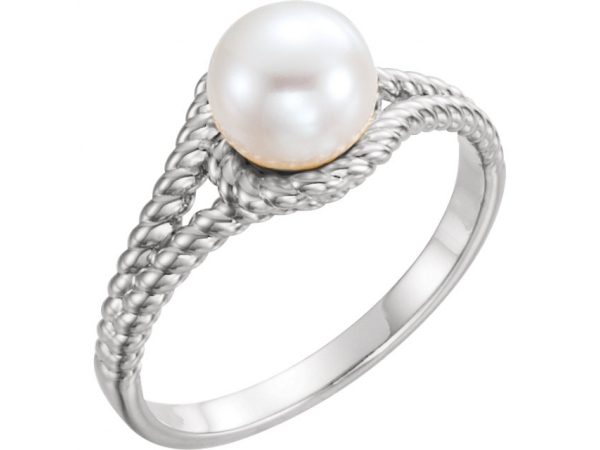 Rope Pearl Ring  - 14K White 7mm White Freshwater Pearl Rope Ring