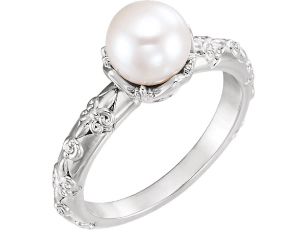 Vintage-Inspired Accented Pearl Ring - 14K White Freshwater Cultured Pearl & .02 CTW Diamond Vintage-Inspired Ring