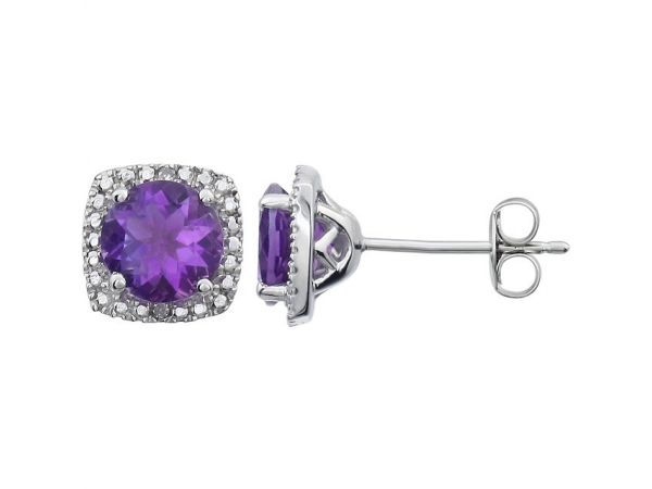 Halo-Style Earrings  - Sterling Silver Amethyst & .015 CTW Diamond Earrings