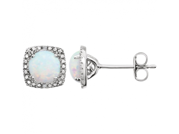 Halo-Style Earrings  - Sterling Silver Created Opal & .015 CTW Diamond Earrings