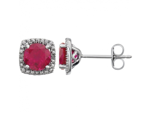 Halo-Style Earrings  - Sterling Silver Created Ruby & .015 CTW Diamond Earrings
