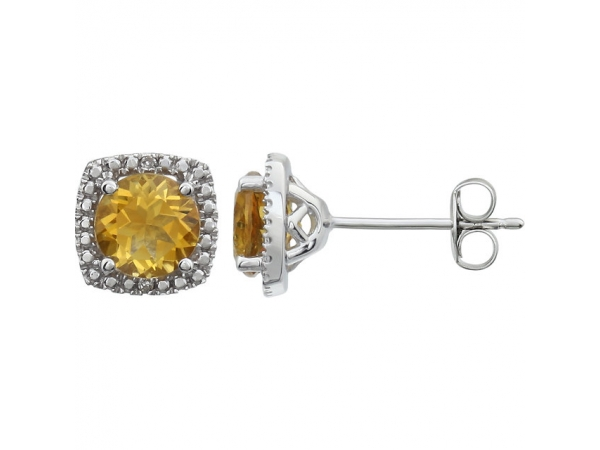 Halo-Style Earrings  - Sterling Silver Citrine & .015 CTW Diamond Earrings