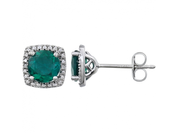 Halo-Style Earrings  - Sterling Silver Created Emerald & .015 CTW Diamond Earrings