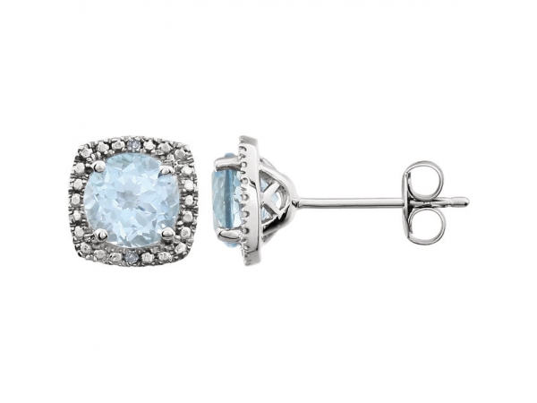 Halo-Style Earrings  - Sterling Silver Sky Blue Topaz & .015 CTW Diamond Earrings