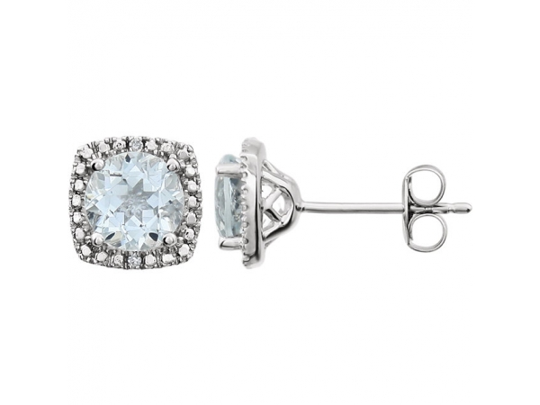 Halo-Style Earrings  - Sterling Silver 6mm Aquamarine & .015 CTW Diamond Earrings