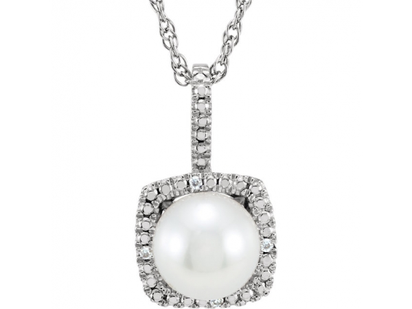 Halo-Style Birthstone Necklace - Sterling Silver 6.5-7 mm Freshwater Cultured Pearl & .015 CTW Diamond 18