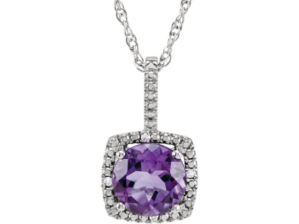 Halo-Style Birthstone Necklace - Sterling Silver Amethyst & .015 CTW Diamond 18