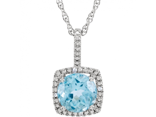 Halo-Style Birthstone Necklace - Sterling Silver 7 mm Sky Blue Topaz & .015 CTW Diamond 18
