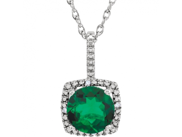 Halo-Style Necklace - Sterling Silver 7mm Lab-Grown Emerald & .015 CTW Diamond 18