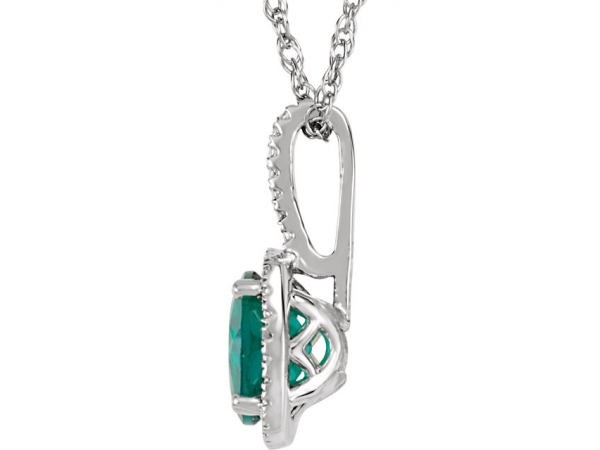 Gemstone Pendants - Lab-Created Emerald Necklace - image #2