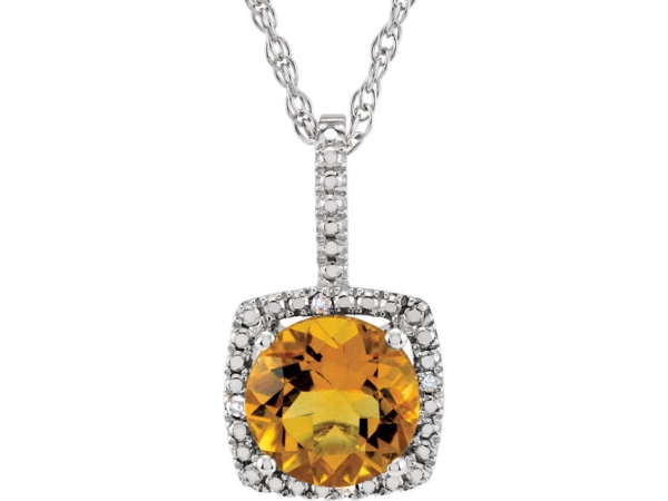 Halo-Style Necklace - Sterling Silver 7mm Citrine & .015 CTW Diamond 18