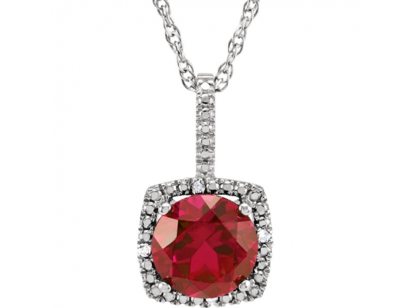 Halo-Style Necklace - Sterling Silver 7mm Lab-Grown Ruby & .015 CTW Diamond 18