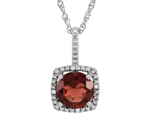 Halo-Style Necklace - Sterling Silver 7mm Mozambique Garnet & .015 CTW Diamond 18