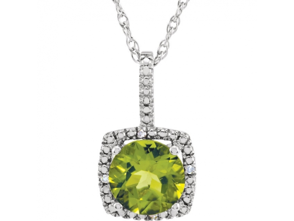 Genuine Peridot Necklace - Polished Sterling Silver Pearl Cut Genuine Peridot Necklace