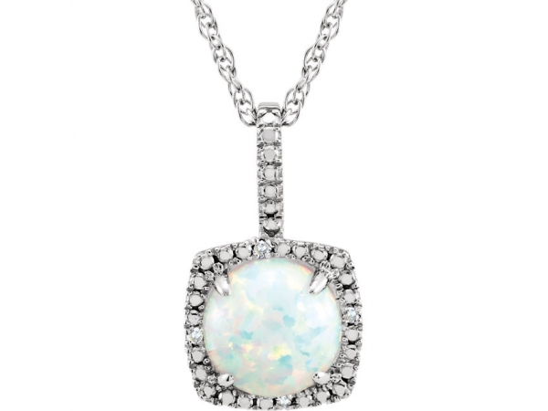 Halo-Style Birthstone Necklace - Sterling Silver 7 mm Created Opal & .015 CTW Diamond 18