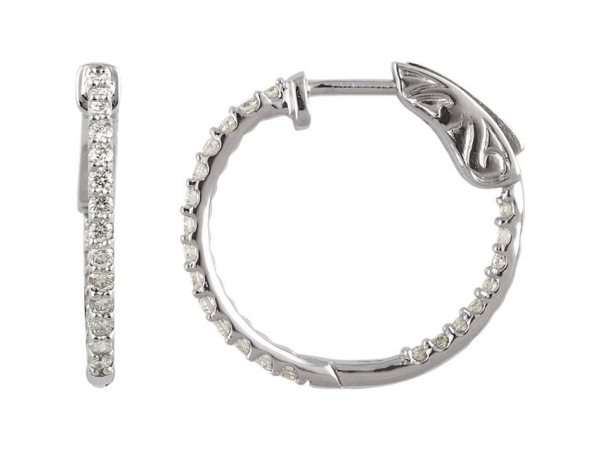 Inside/Outside Hoop Earrings - 14K White 1/2 CTW Diamond Inside/Outside Hoop Earrings