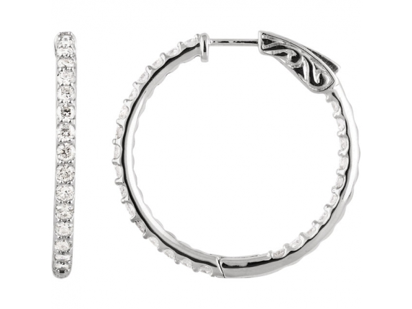 Inside/Outside Hoop Earrings - Platinum 2 CTW Diamond Inside/Outside Hoop Earrings