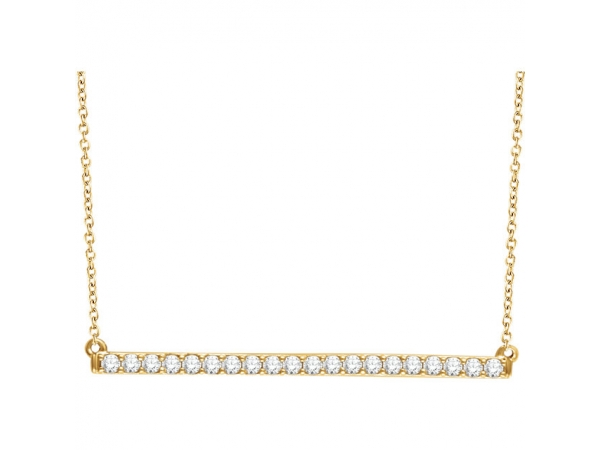 Bar Necklace - 14K Yellow 1/6 CTW Diamond Bar 16-18