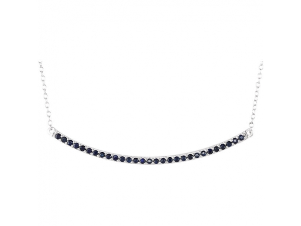 Bar Necklace  - 14K White Blue Sapphire Bar 16-18