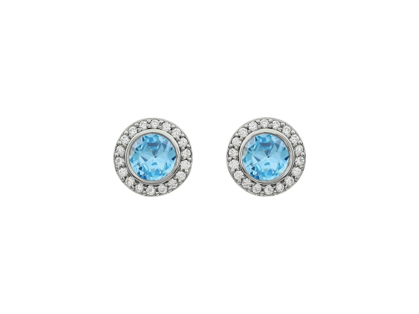 Colored Stone Earrings - Light Blue Cubic Zirconia Earrings - image #2