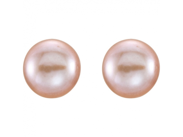 Colored Stone Earrings - Cultured Pink Freshwater Pearl Earrings - image #2