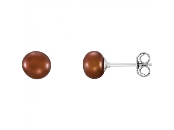 Freshwater Cultured Pearl Stud Earrings - Sterling Silver 5-6mm Chocolate Freshwater Cultured Pearl Earrings