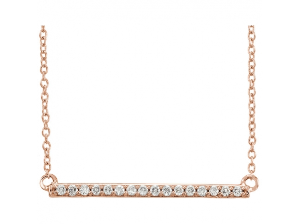 Bar Necklace - 14K Rose 1/6 CTW Diamond Bar 18